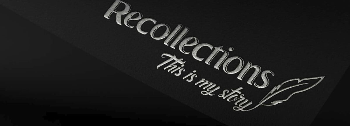 Silver foil printing Recollections logo
