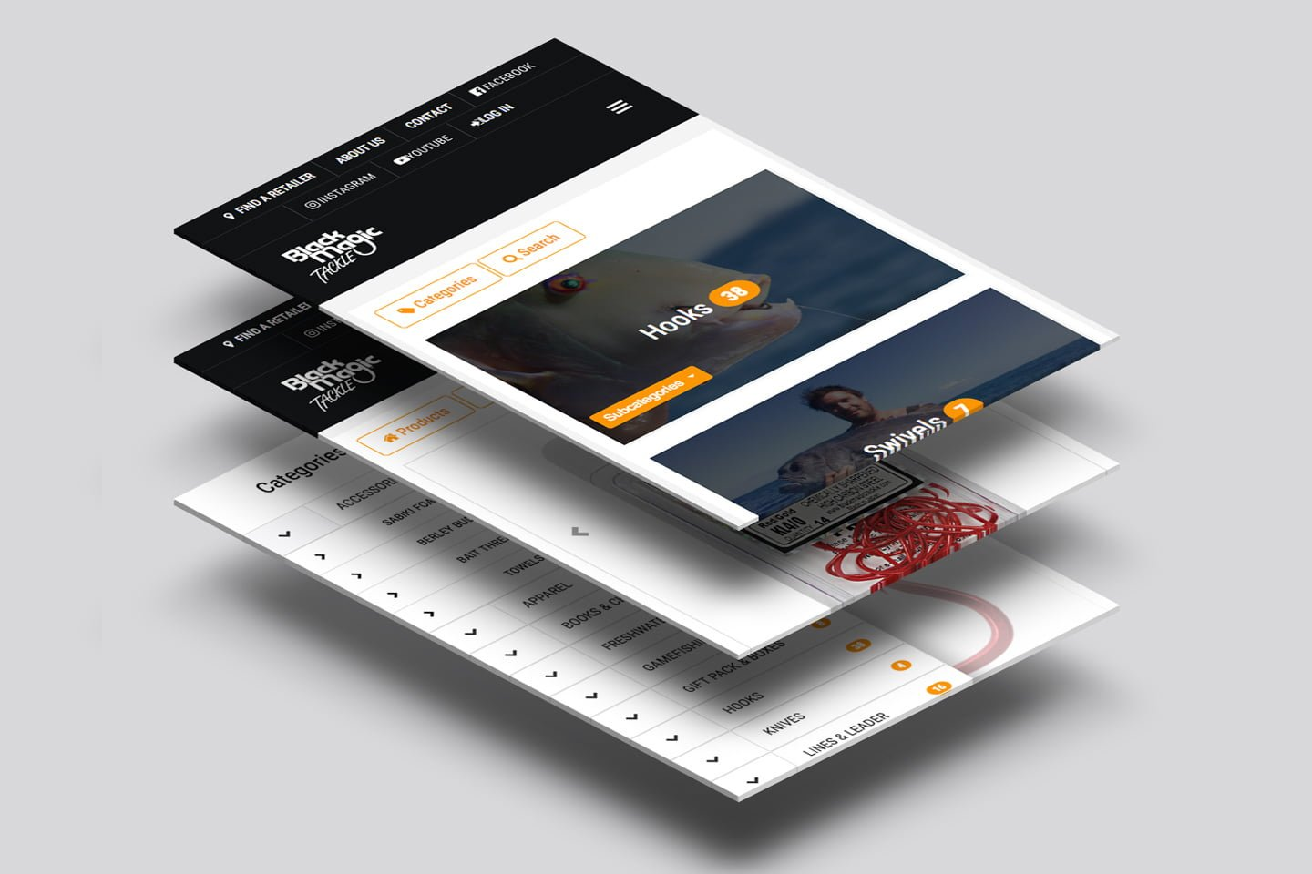 UX website design for Black Magic Fishing