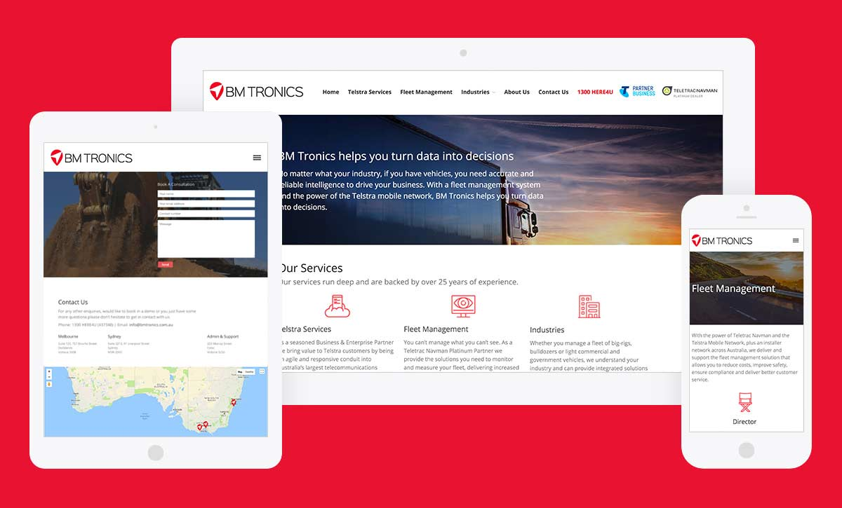 BM Tronics website design