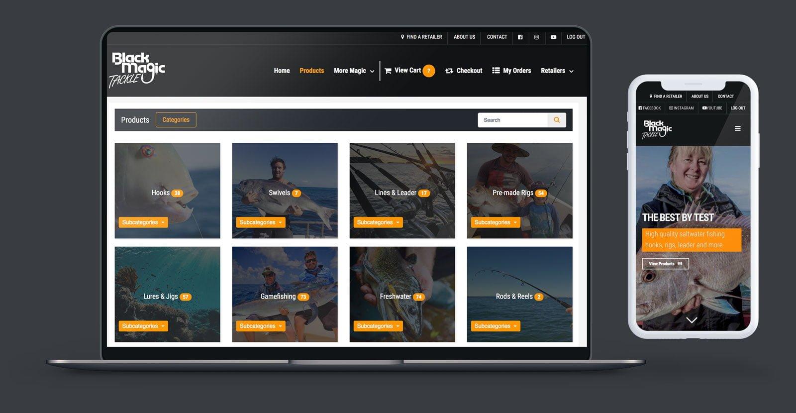 Black Magic Fishing website design