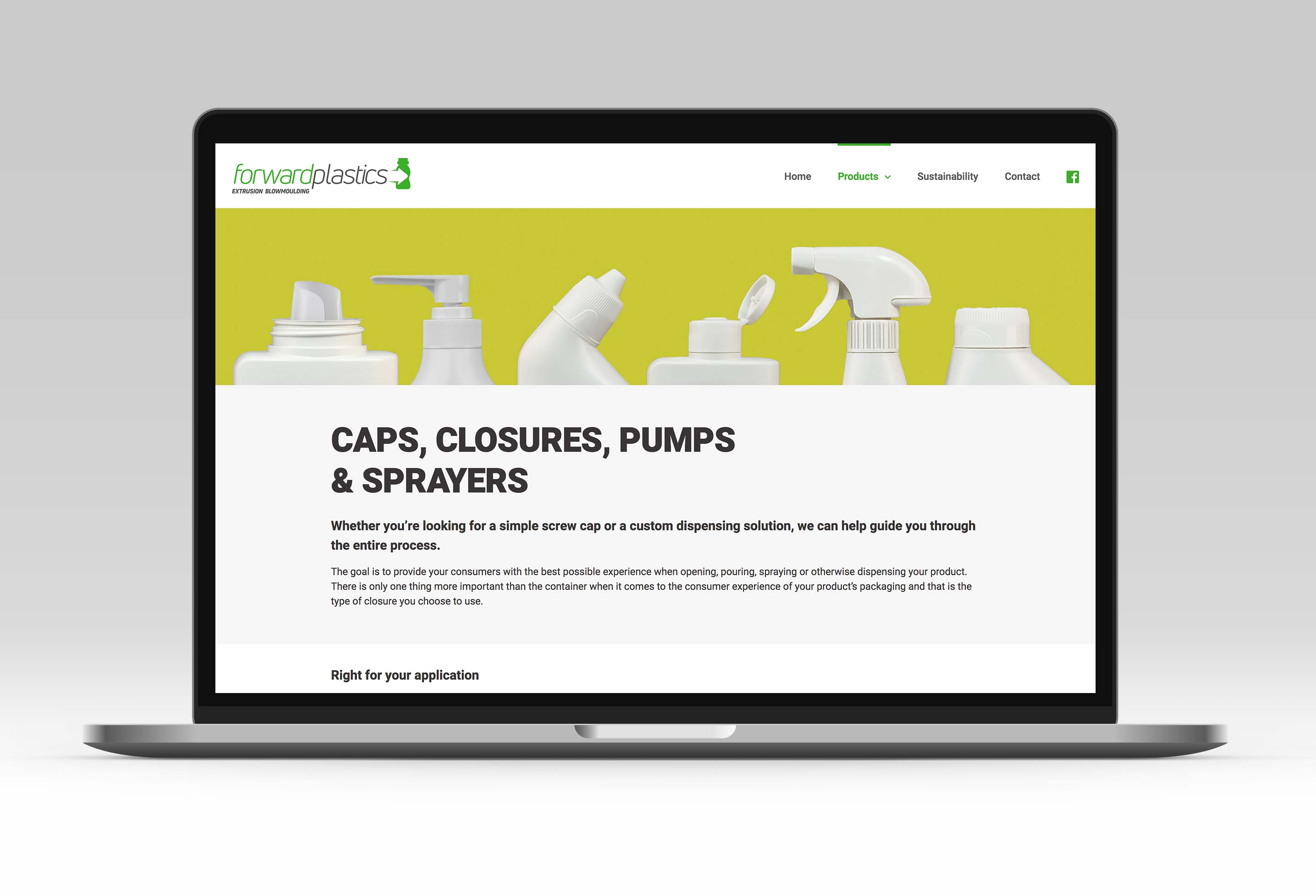 Mobile friendly web design for Forward Plastics