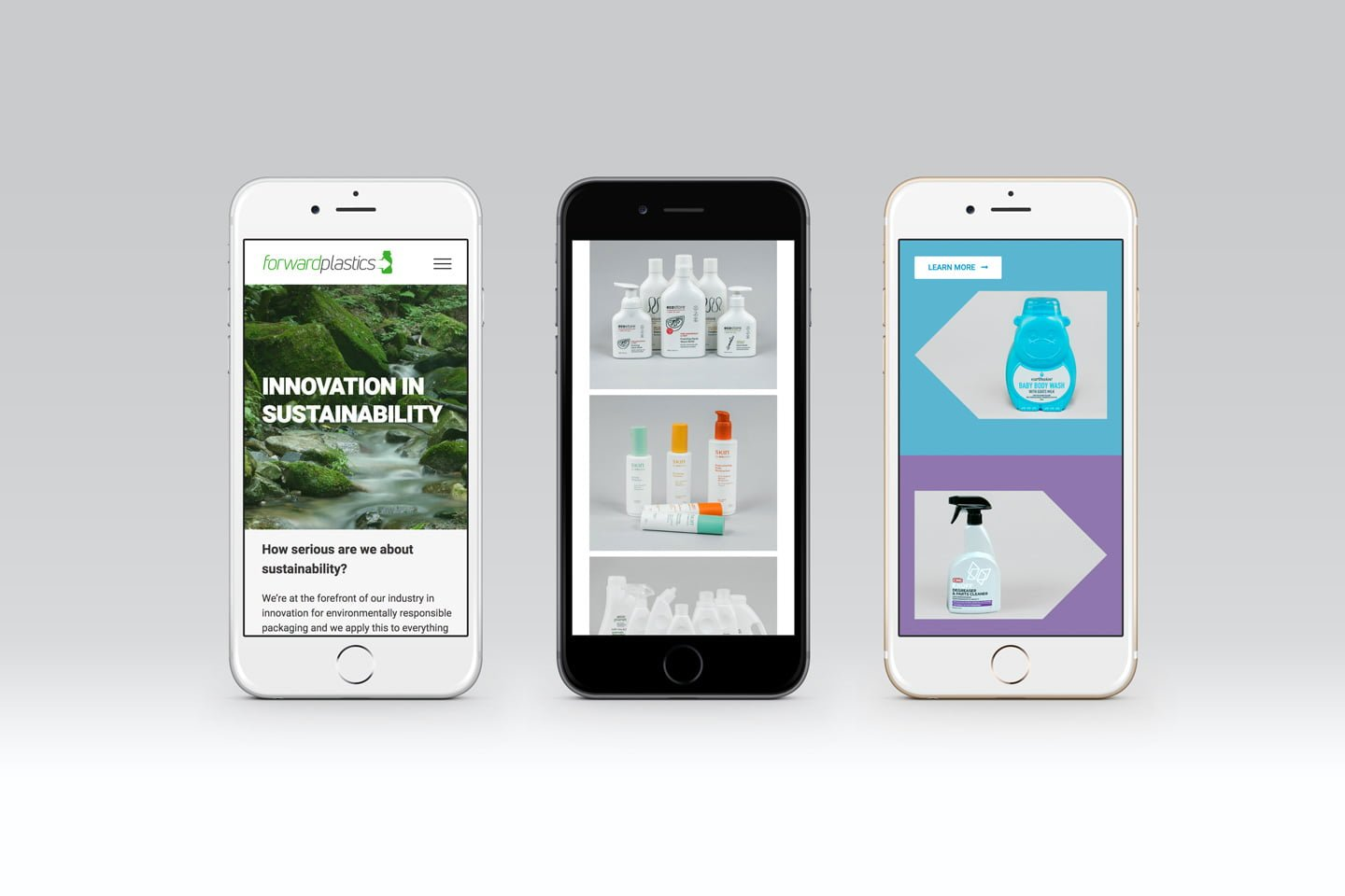 Creative mobile friendly web design for Forward Plastics