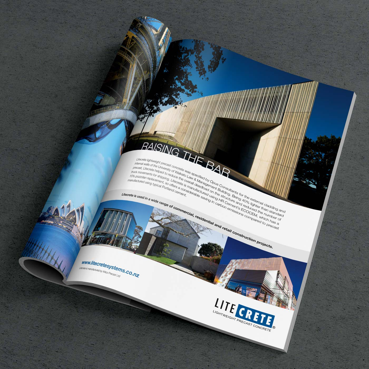 magazine advertising graphic design for litecrete