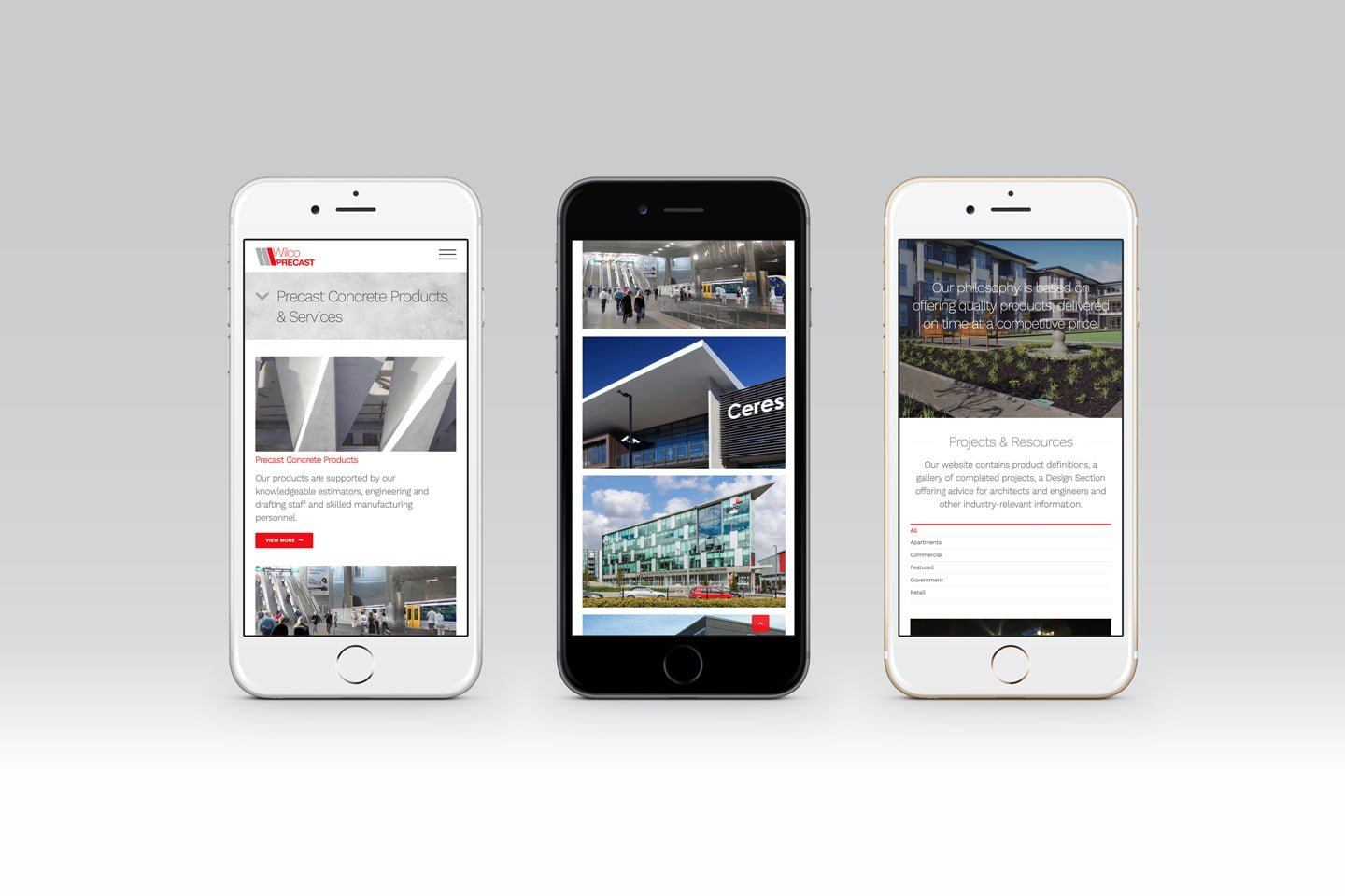 mobile friendly wordpress website for wilco precast